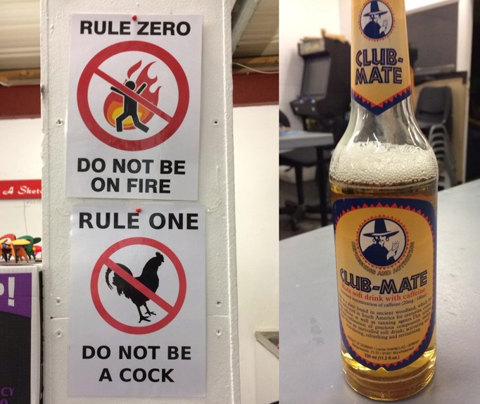 Rules to Hacman, the Manchester hackspace, and some club mate