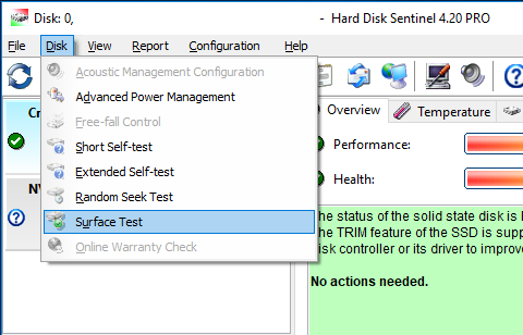 A screenshot of Hard Disk Sentinel showing where to find the surface scan option in the menu (Disk, Surface test)