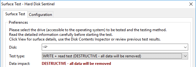 A screenshot of Hard Disk Sentinel showing the destructive write + read surface test option