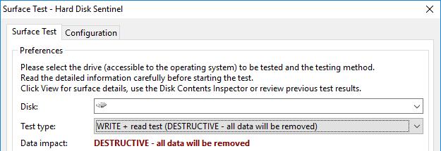 A screenshot of Hard Disk Sentinel showing the destructive write + read surface test option