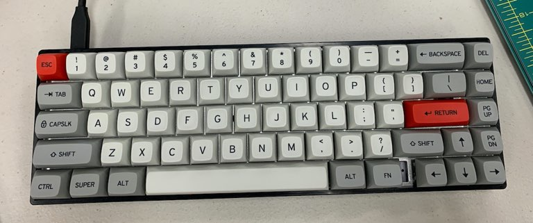 The completed keyboard from a top angle. It shows the layout and the beautiful typeface of the keys